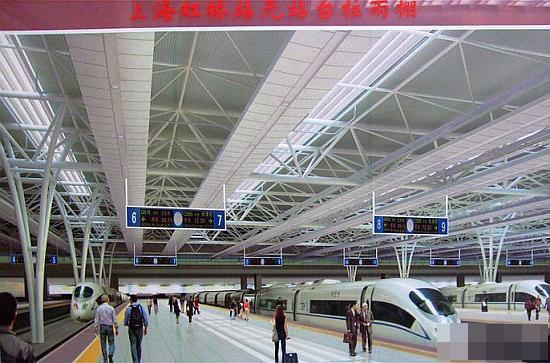 上海虹桥火车站站台平面图